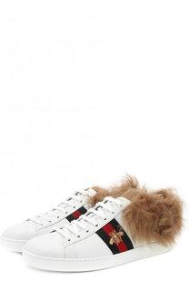 Кожаные кеды Ace с отделкой из меха Gucci