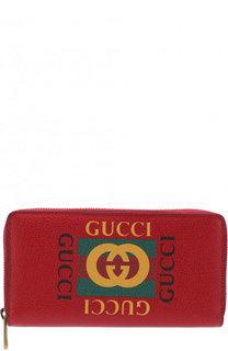 Кожаное портмоне на молнии с отделениями для кредитных карт и монет Gucci