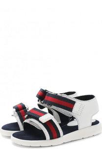 Кожаные сандалии с текстильной отделкой и застежками велькро Gucci