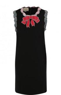 Мини-платье с контрастной бархатной отделкой Gucci