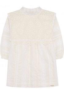 Хлопковое мини-платье с кружевной отделкой Burberry
