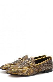 Текстильные лоферы Jordaan с вышивкой и пряжкой-трензелем Gucci