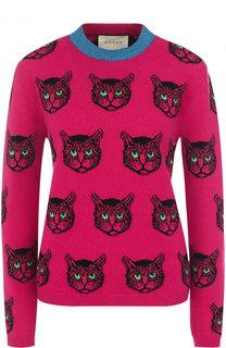 Пуловер из смеси шерсти и кашемира с круглым вырезом Gucci