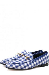 Текстильные лоферы Jordaan с пряжкой-трензелем Gucci