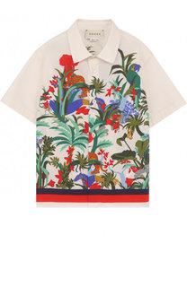 Хлопковая рубашка с принтом Gucci