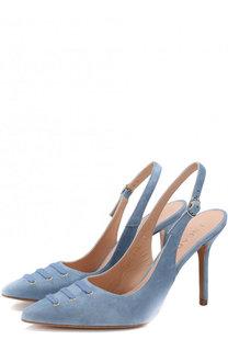 Замшевые туфли с ремешком на шпильке Escada