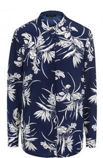 Шелковая блуза с контрастным цветочным принтом Escada