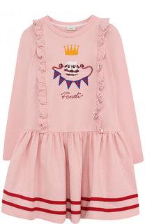 Хлопковое платье с оборками и контрастной вышивкой Fendi Roma