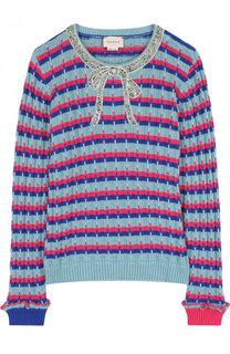 Хлопковый пуловер фактурной вязки со стразами Gucci