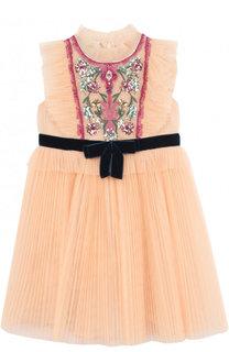 Многослойной платье с плиссированной юбкой и вышивкой пайетками Gucci