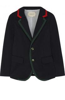 Однобортный пиджак из хлопка с контрастной отделкой Gucci