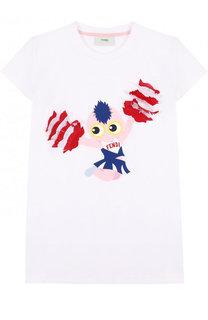 Хлопковая футболка с принтом и бахромой Fendi Roma