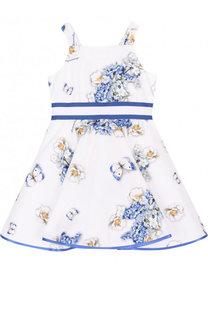 Хлопковое платье с принтом и широким поясом Monnalisa