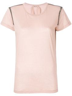 футболка с украшением из кристаллов на плечах Nº21