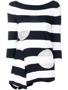 свитер в полоску с вышитыми круглыми деталями D.Exterior
