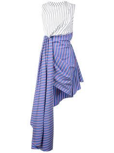 полосатое платье без рукавов с драпированной юбкой Off-White