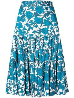 юбка-миди с цветочным рисунком и оборками La Doublej