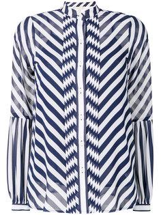 шифоновая блузка в полоску с воротником-стойкой  Michael Michael Kors