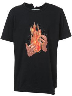 футболка с принтом в виде языков пламени Off-White