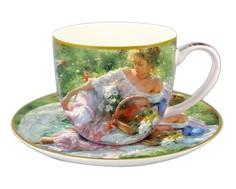 """Чашка с блюдцем """"Девушка с корзиной цветов"""" Carmani"""