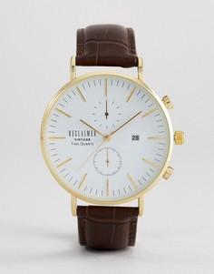 Часы-хронограф с коричневым кожаным ремешком Reclaimed Vintage Inspired - Черный