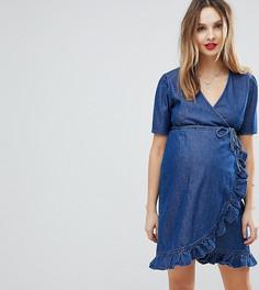Темно-синее джинсовое платье с запахом ASOS DESIGN Maternity - Синий