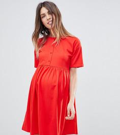 Платье на пуговицах с короткими рукавами ASOS MATERNITY - Красный