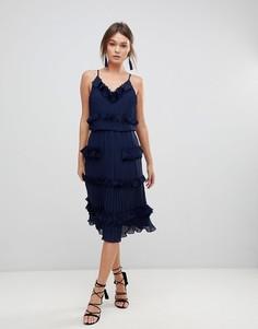 Короткое приталенное платье премиум с плиссированными оборками True Decadence - Темно-синий