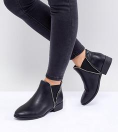 Ботинки челси для широкой стопы на плоской подошве и с заклепками New Look - Черный