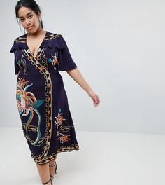 Премиум-платье с запахом, вышивкой и оборками ASOS DESIGN Curve - Темно-синий