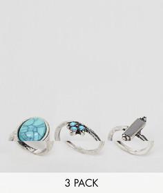 3 кольца с отделкой ASOS DESIGN - Серебряный