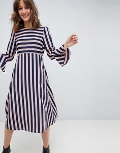 Платье миди в полоску ASOS - Мульти