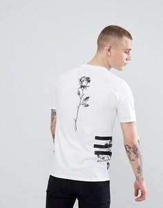 Белая футболка с принтом роз River Island - Белый