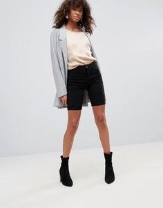 Удлиненные джинсовые шорты Pieces Skin - Черный