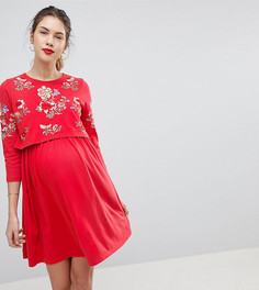 Приталенное платье с вышивкой для кормящих мам ASOS MATERNITY - Красный