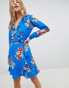 Платье мини с запахом и цветочным принтом ASOS - Мульти