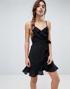 Платье мини с запахом и оборками ASOS - Черный