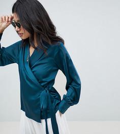Блузка с запахом и поясом сбоку Missguided Tall - Темно-синий