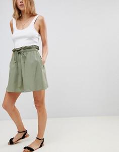 Хлопковая расклешенная мини-юбка с карманами ASOS - Зеленый