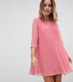 Плиссированное платье-трапеция мини ASOS PETITE - Зеленый