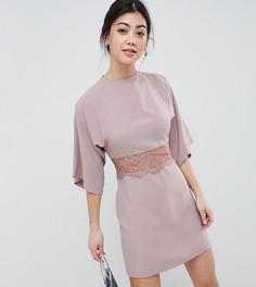 Платье мини в стиле кимоно с кружевной отделкой ASOS PETITE - Розовый