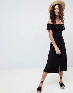 Платье миди на пуговицах с открытыми плечами ASOS DESIGN - Черный