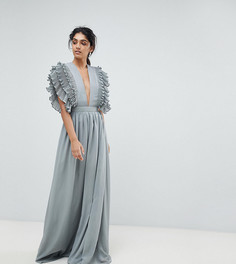 Платье макси с глубоким вырезом True Decadence Tall - Серый