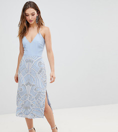 Платье-футляр миди 2 в 1 с декорированной юбкой Frock And Frill - Синий