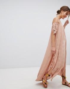 Платье-бандо макси с разрезами Flynn Skye - Оранжевый