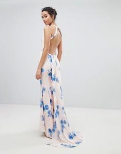 Платье макси с цветочным принтом и открытой спиной Jarlo - Мульти