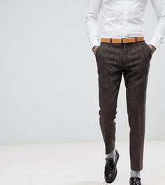 Зауженные брюки из твида Харрис с узором в елочку Heart & Dagger - Коричневый