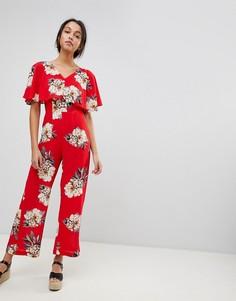 Яркий комбинезон с цветочным принтом Ax Paris - Красный