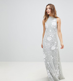Платье макси с высоким воротом Frock And Frill - Серый