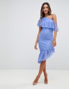 Платье миди на одно плечо с оборками и асимметричным подолом ASOS - Синий
